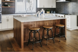Kitchen with stools at an island