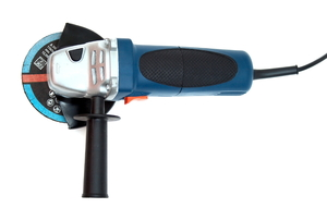 A blue and black angle grinder is plugged in a ready to use.