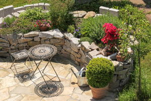 Stone patio floors.