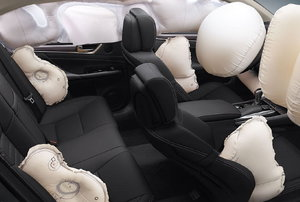 Airbags in a car.