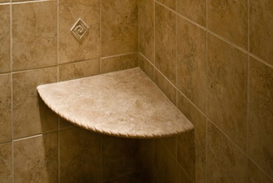 corner shower bench