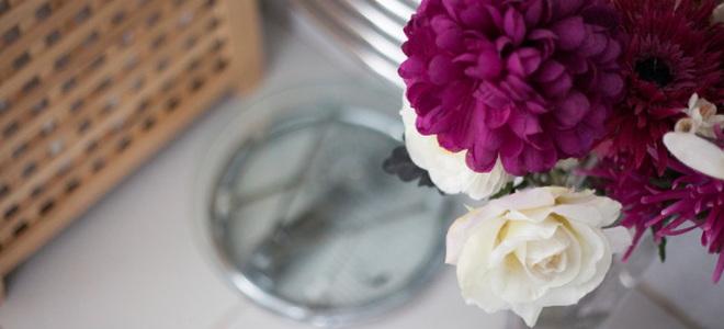 flowers in a bathroom