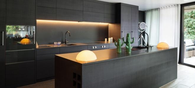 stylish kitchen with dark finish