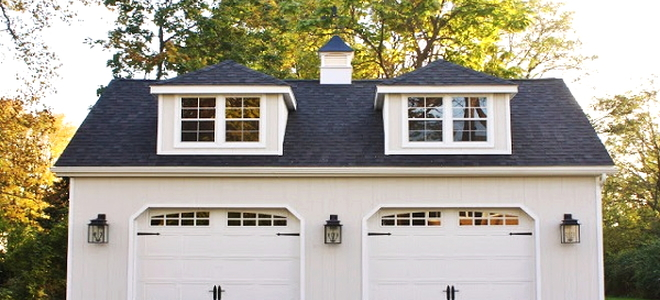 garage with carriage doors