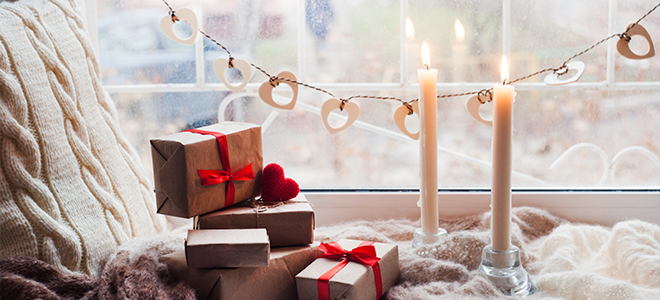 Cozy winter decorations, presents, and lights