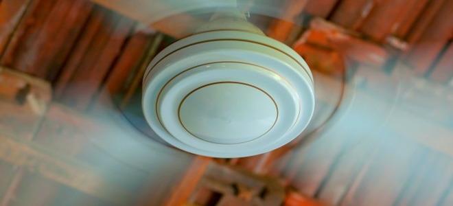 A spinning ceiling fan.