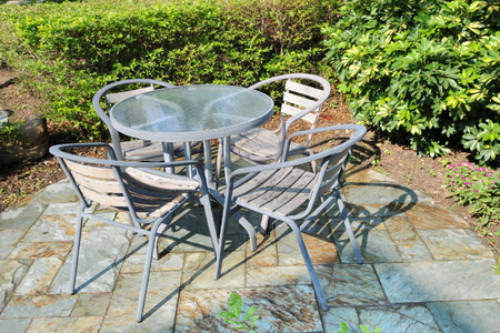 How to paint glass patio table tops for Clean rust off concrete patio