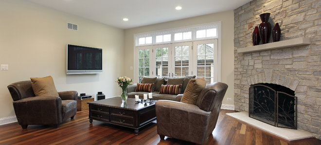 Hardwood floors in a living room.