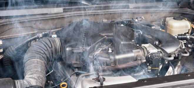 overheating engine radiator with smoke coming out