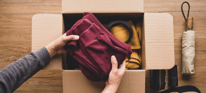 donate clothes in a box