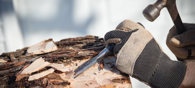 gloves with chisel and hammer to remove bark from a tree stump