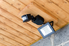 an outdoor motion sensored light mounted to the roof