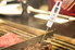 digital meat thermometer inserted into meat