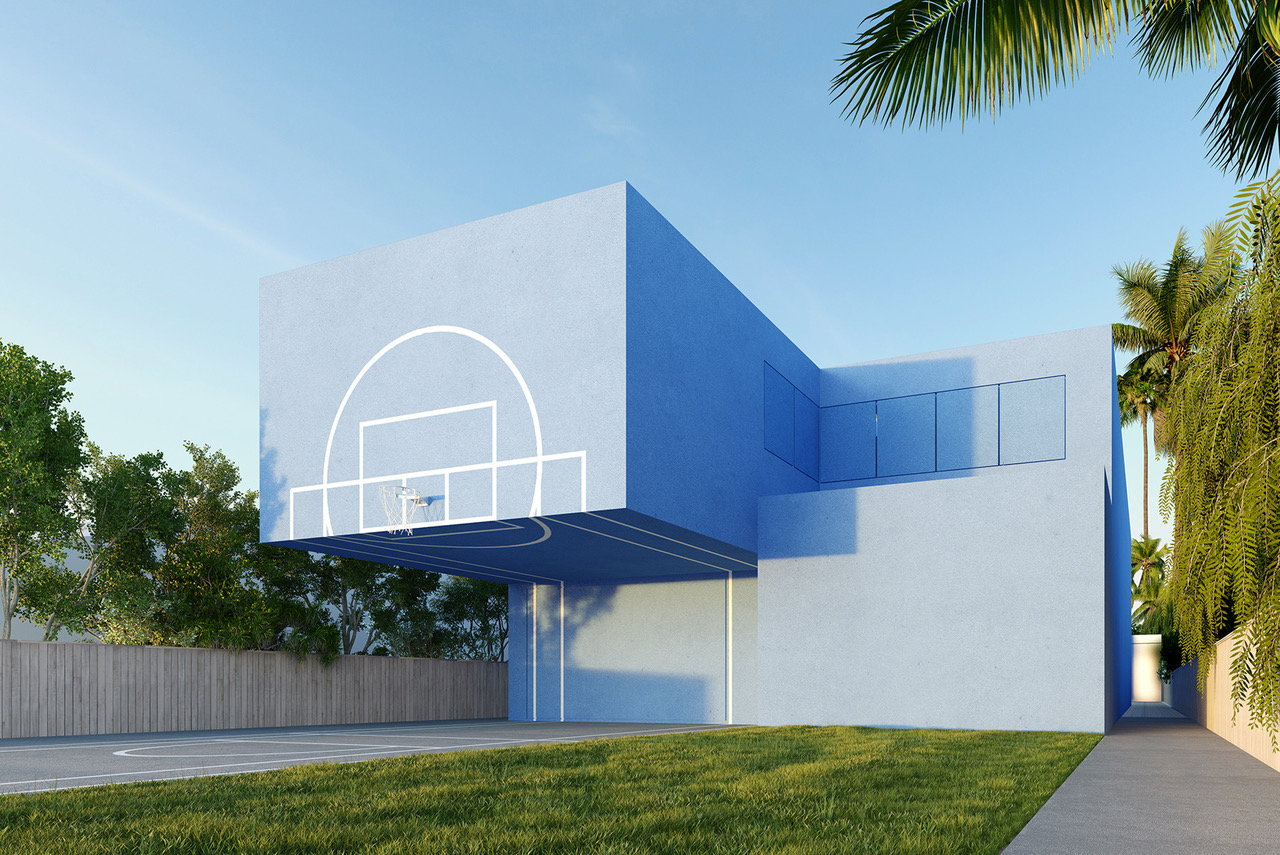 Dunk House: A Sky-Blue Home for a Basketball Player by Studio Malka Architecture