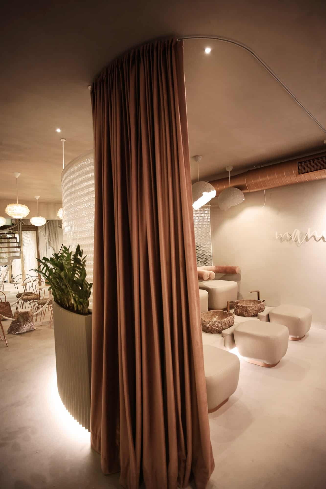 The minimalist pedicure area inside Kosovo's new Angel Salon
