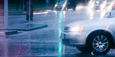 Drive Safely in Spring Rain Showers - Banner