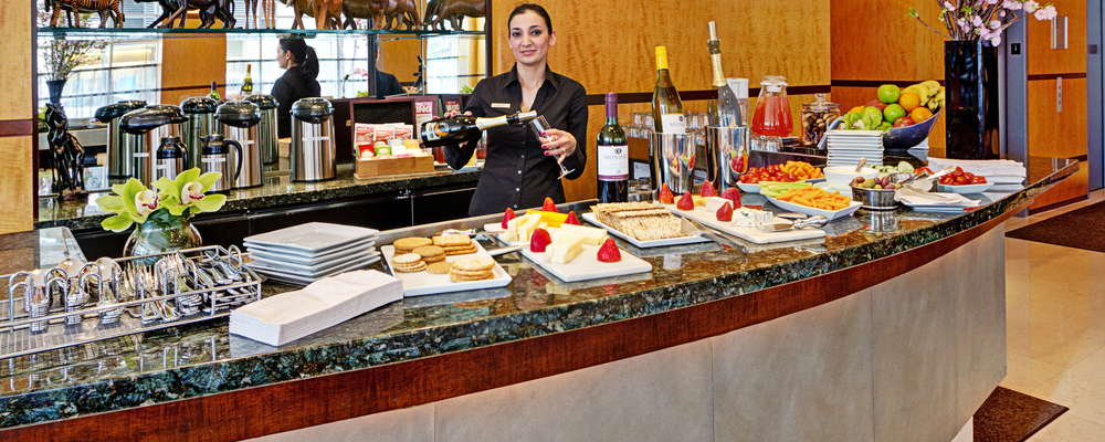 Complimentary wine and cheese is served Mon.-Sat. from 5:00pm-8:00pm at the Hotel Giraffe.