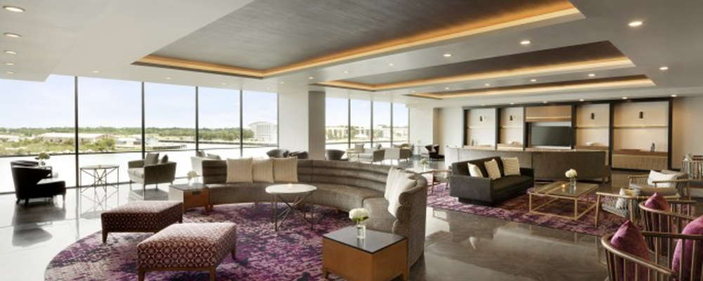 Savannah River Lounge offers comfortable lobby seating overlooking the active Savannah River