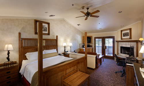 Mission Suite with wood burning fireplace, updated bathroom with jetted tubs and private patio or balcony.
