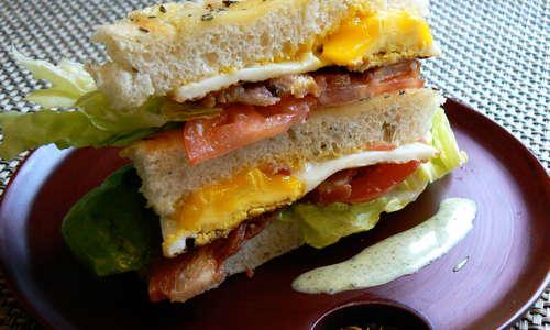 Breakfast: Focaccia Sandwich with Fried Egg, Basil Cream