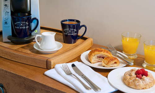 Breakfast delivered to your room each morning is one of our guests' favorite included amenities.