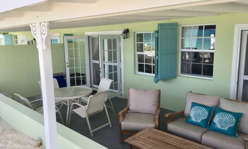 Each unit has a private veranda on the beach overlooking the sea.