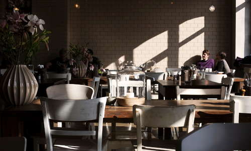 Morning sunshine during breakfast