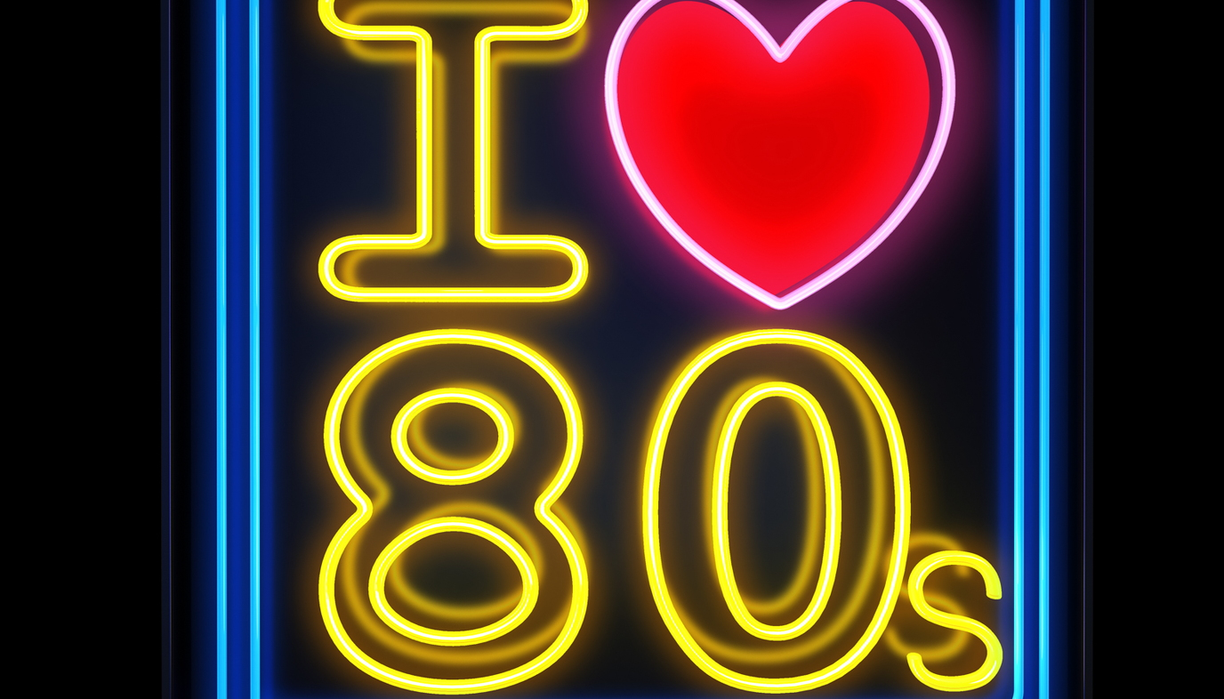 neon sign that says I love the 80s
