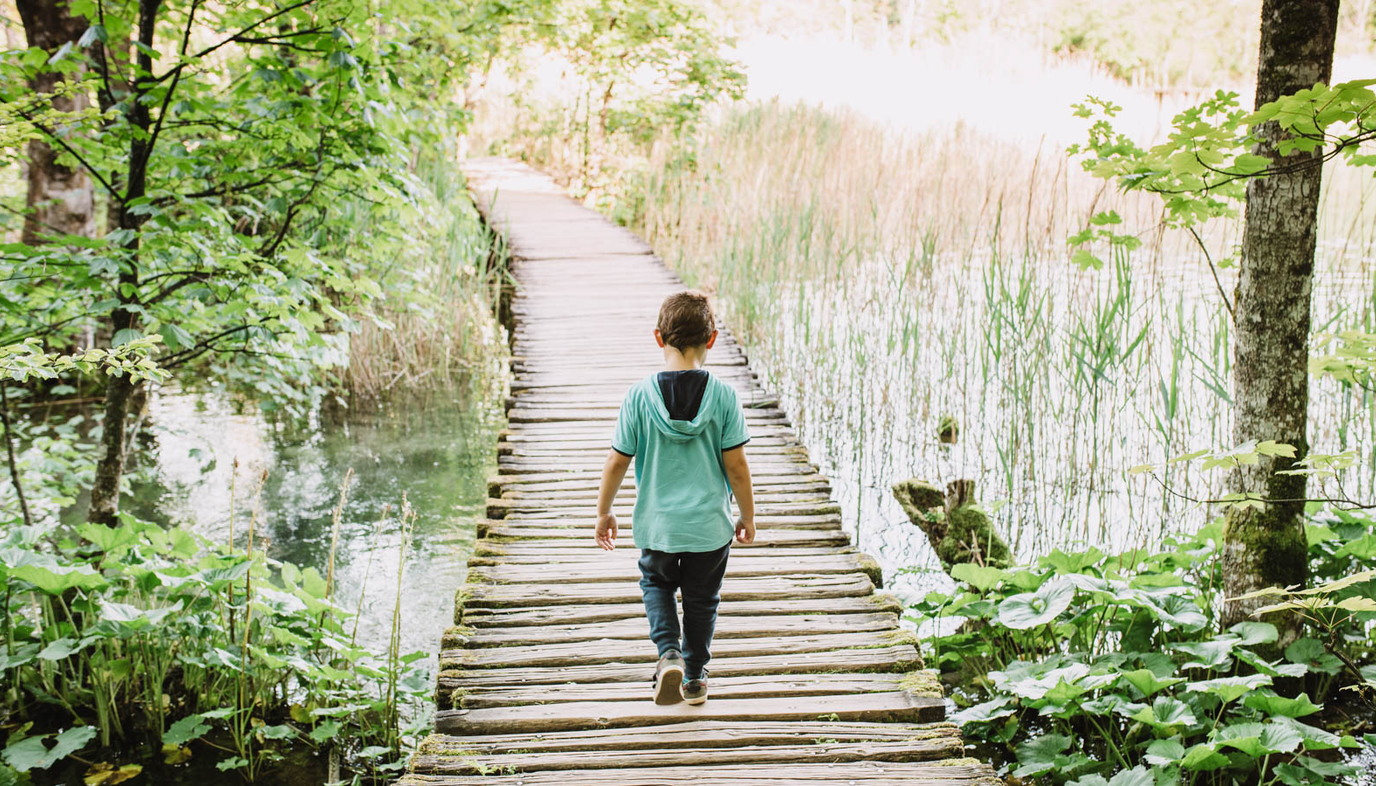 boy walking on bridge in nature