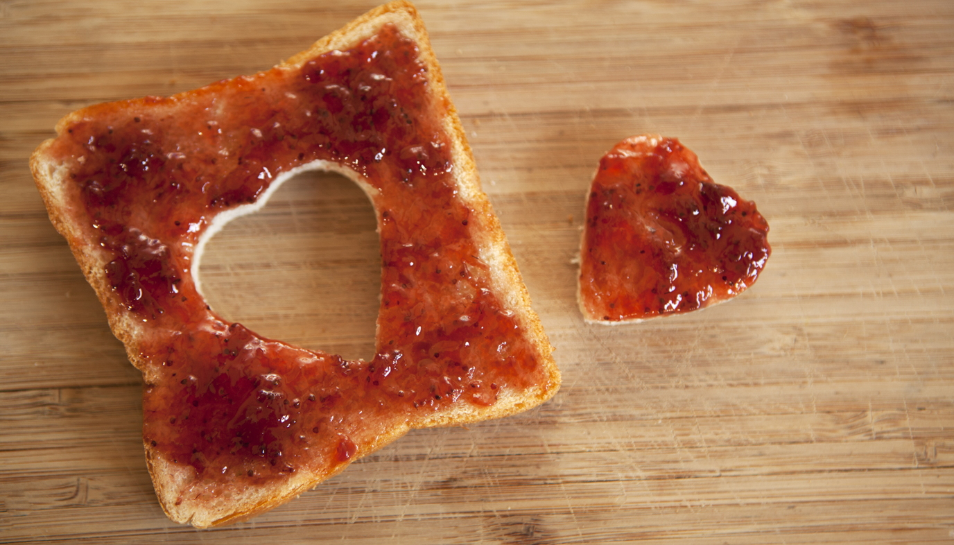 bite size jelly toast made with cookie cutter