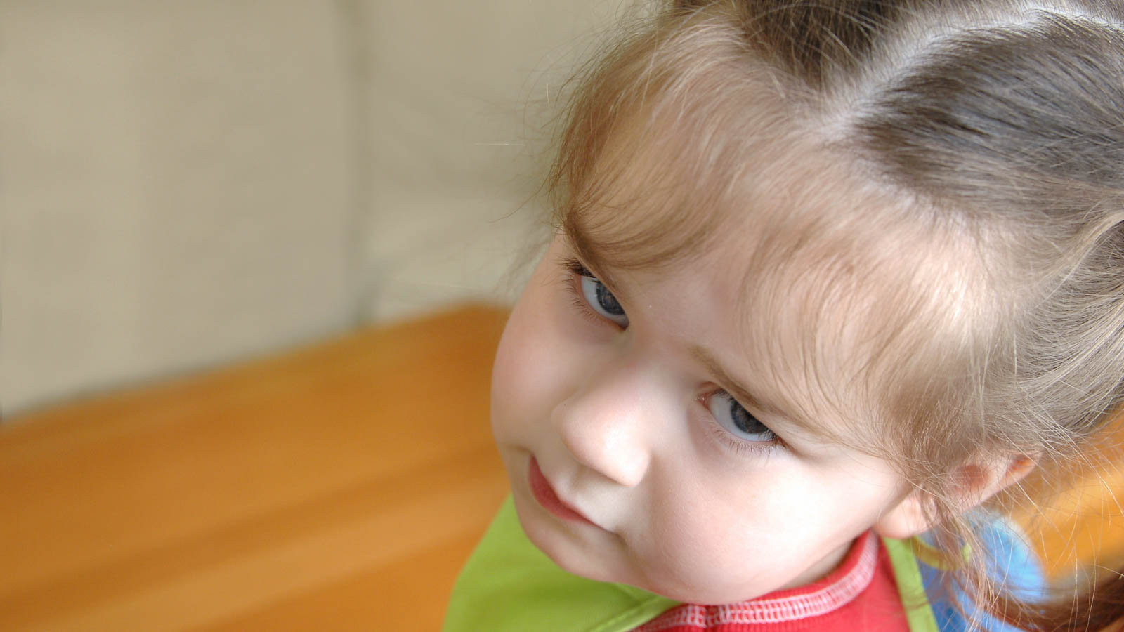 stubborn girl making expressive face