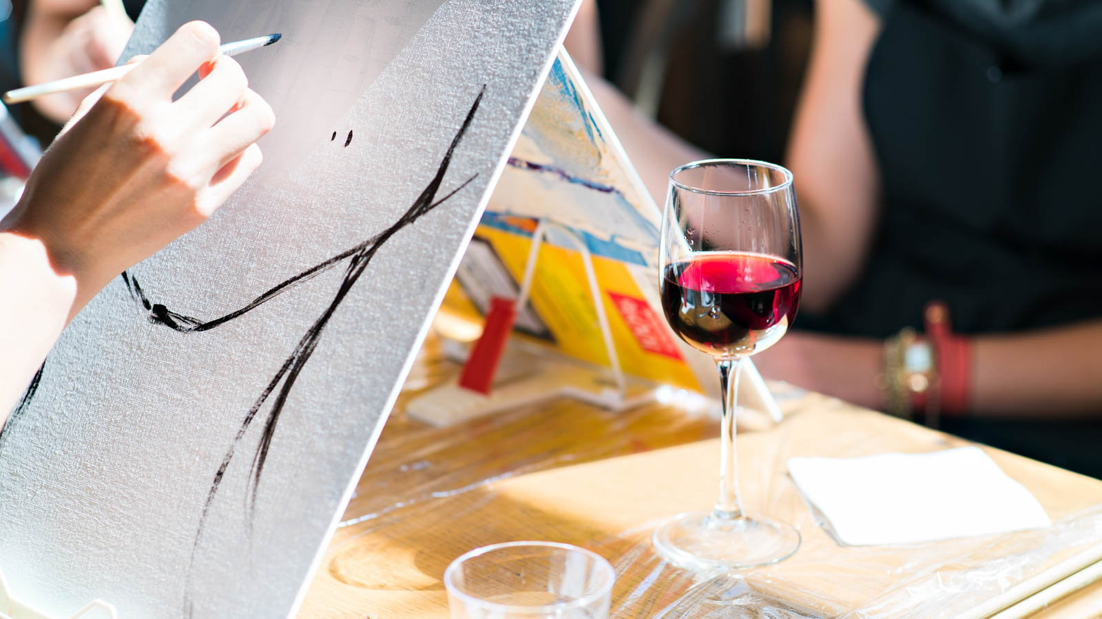 oil painting with a glass of wine