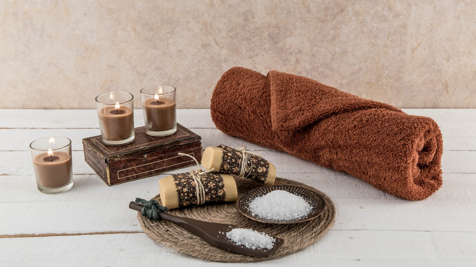 bath time spa items and candles