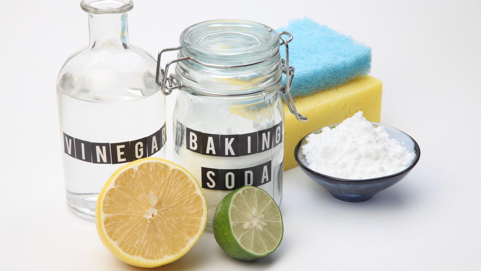 vinegar, baking soda, lemon and lime with sponges