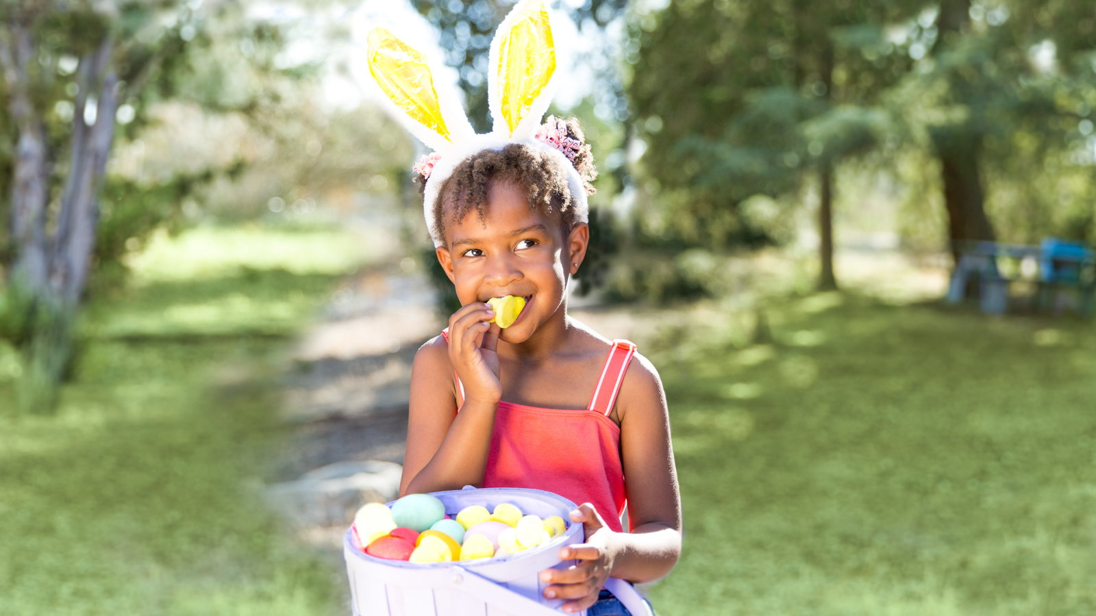 girl eating Easter candy