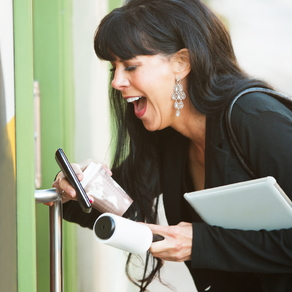 woman opening door at work