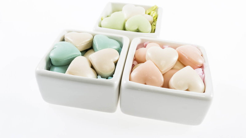 Boxes of heart shaped soap