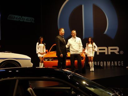 Tim Kuniskis and Pietro Golier at the Chrysler press conference during SEMA13