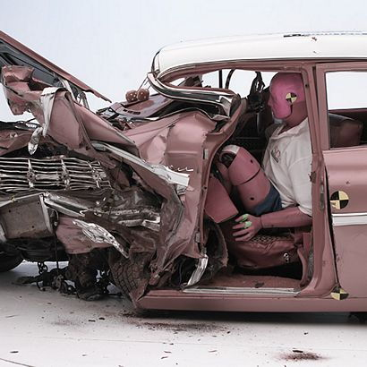 1959 Chevrolet Bel Air crash dummy post crash