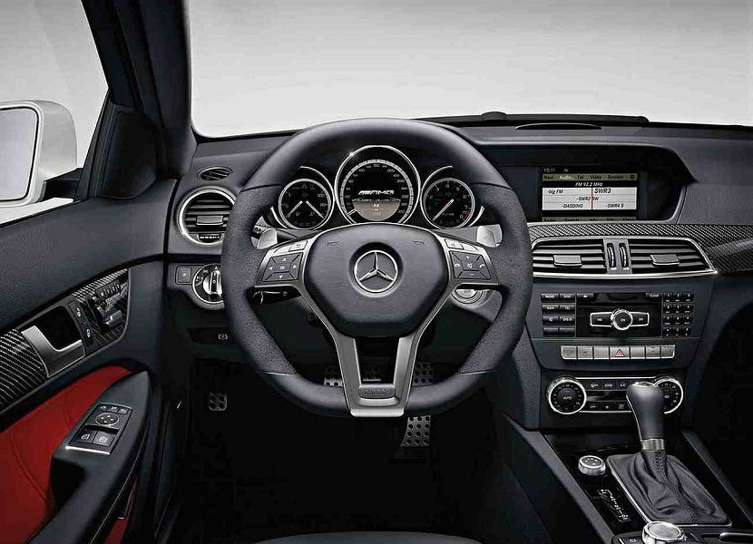 C63 AMG Interior With Red Accents.