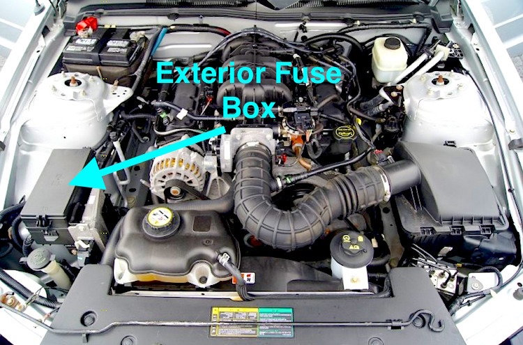 2007 ford mustang fuse box diagram ford mustang v6 and ford mustang gt 2005 2014 fuse box diagram exterior fuse box location