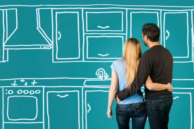 Illustration of couple looking at drawing of furnitures
