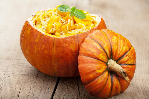 pumpkin risotto in pumpkin bowl