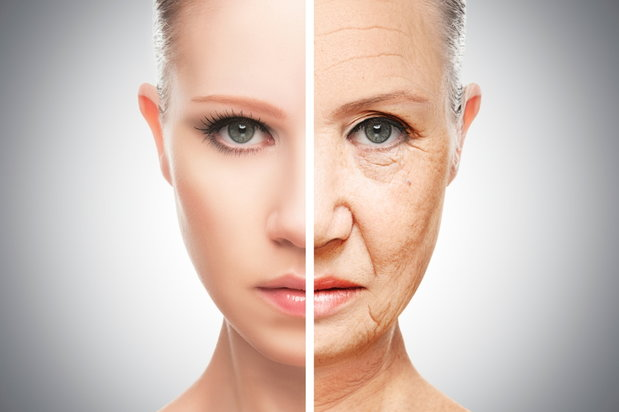 split image of young and old woman