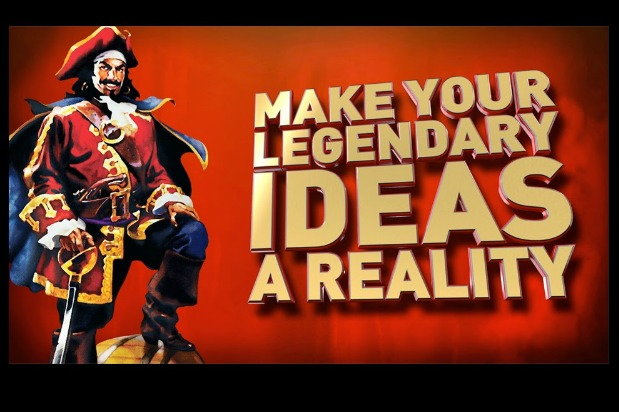 Advertisement showing Captain Morgan pirate with text