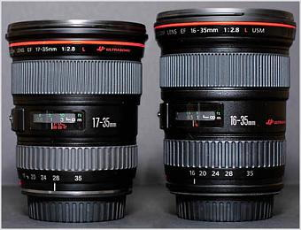 Canon EF 16-35mm f/2.8L USM and Canon EF 17-35mm f/2.8L USM.   Photo (c) 2001 Fred Miranda.