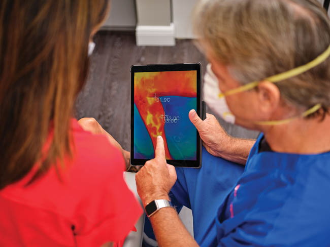 Dr. Soffer demonstrates thermal imaging to most of his patients. He found this leads to better understanding, satisfaction and ultimately compliance with compression and other treatment recommendations.