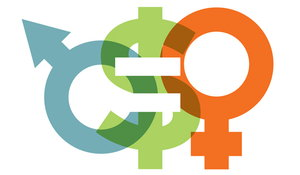 Male and female gender symbols with the dollar sign symbol in the middle