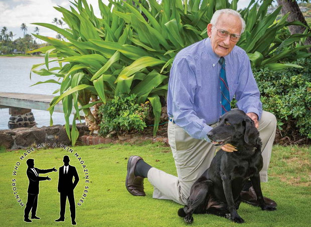Bob Kistner with his dog in Hawaii