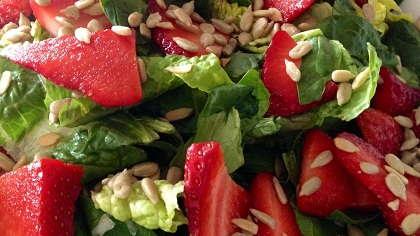 A fresh strawberry salad.